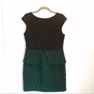Greylin Green & Black Tweed Peplum Dress, NWT